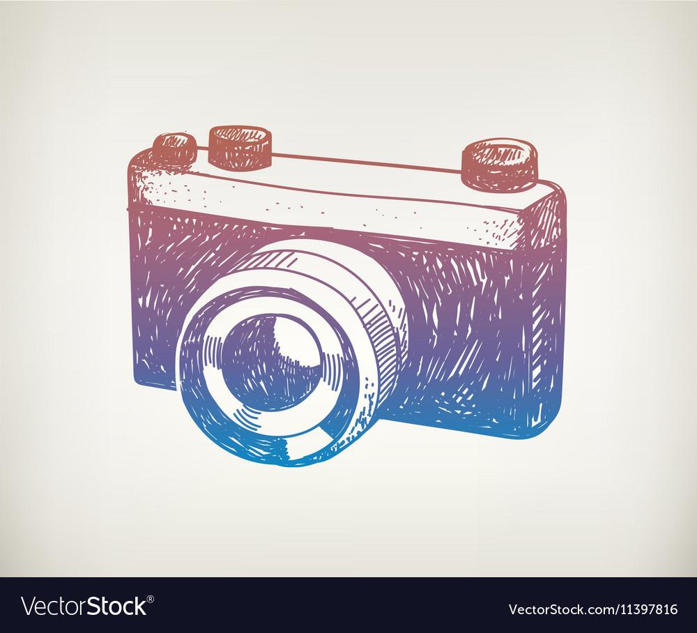 Hand drawn retro camera Hipster