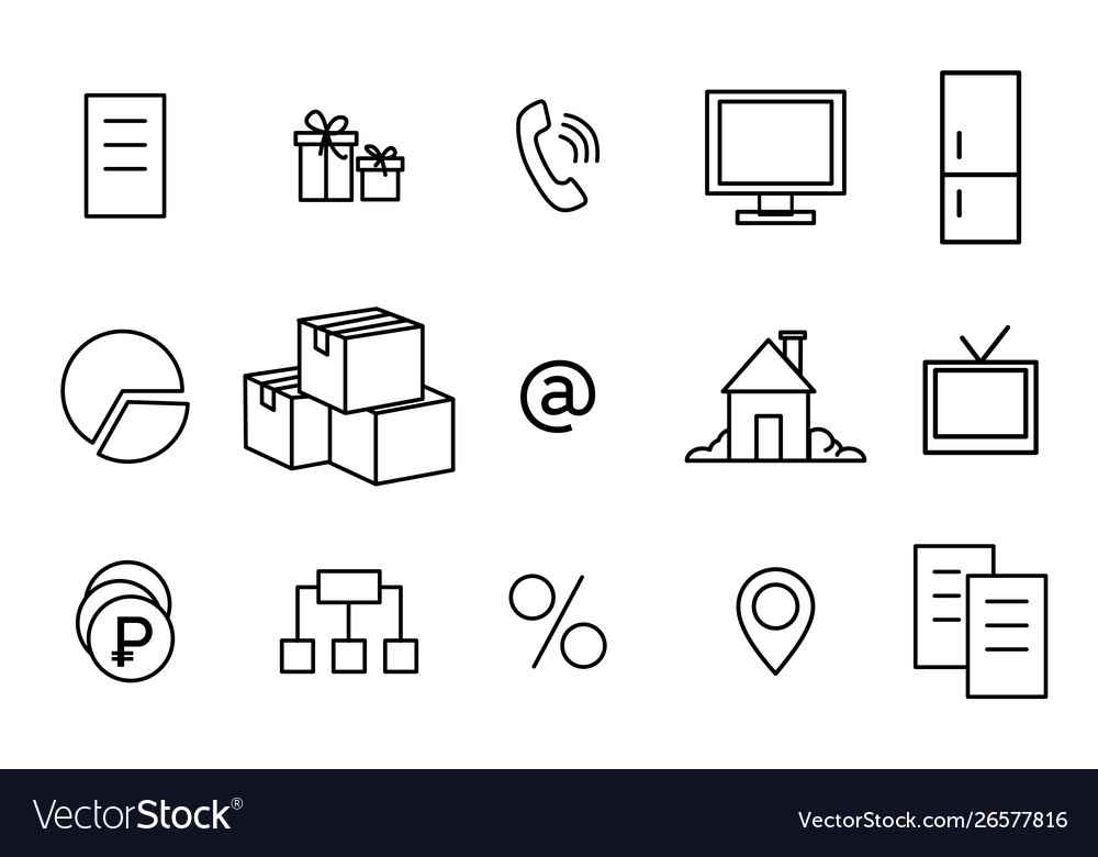 Icons linear home phone delivery tv document