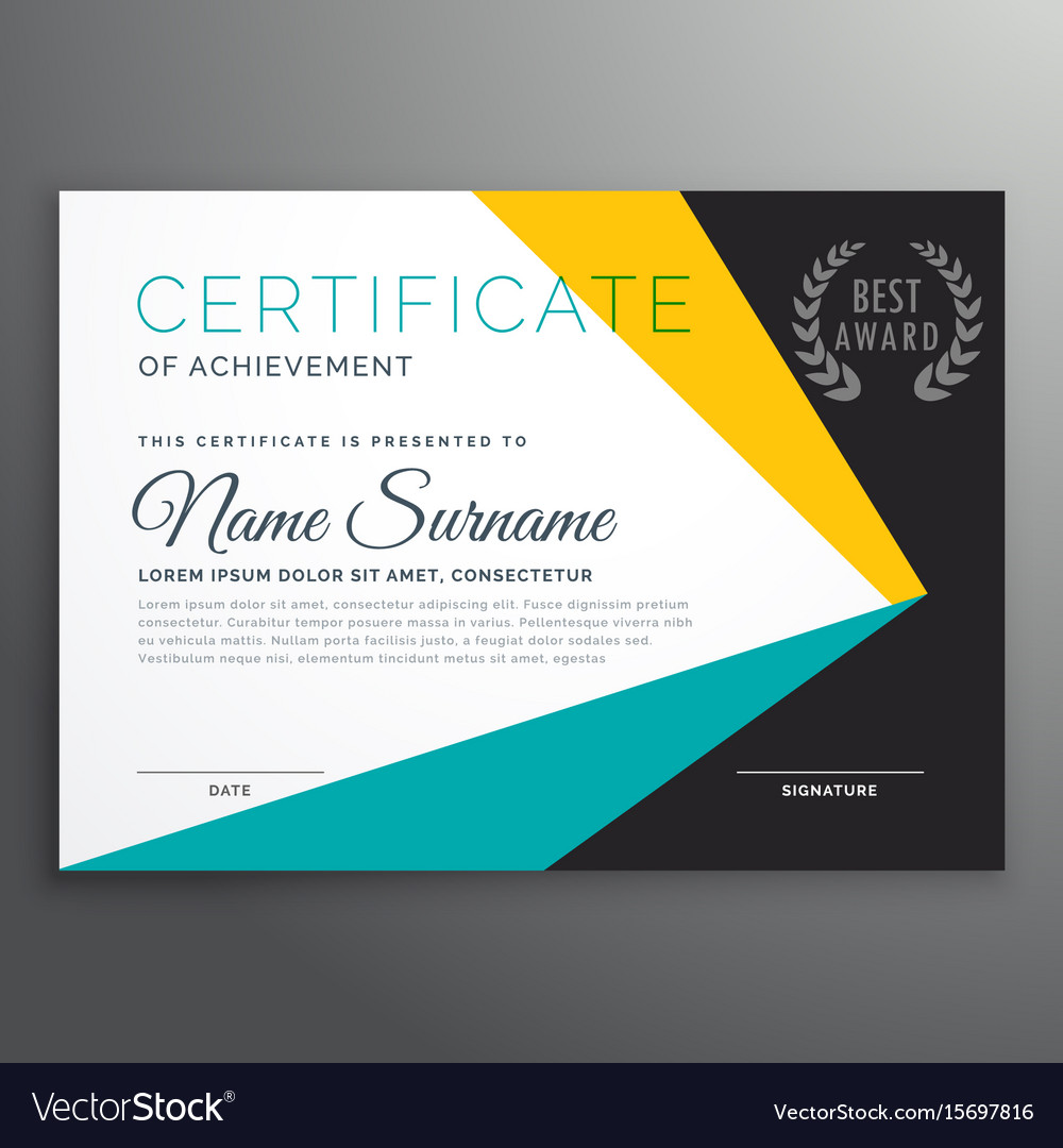 modern certificate template with geometric shapes vector image