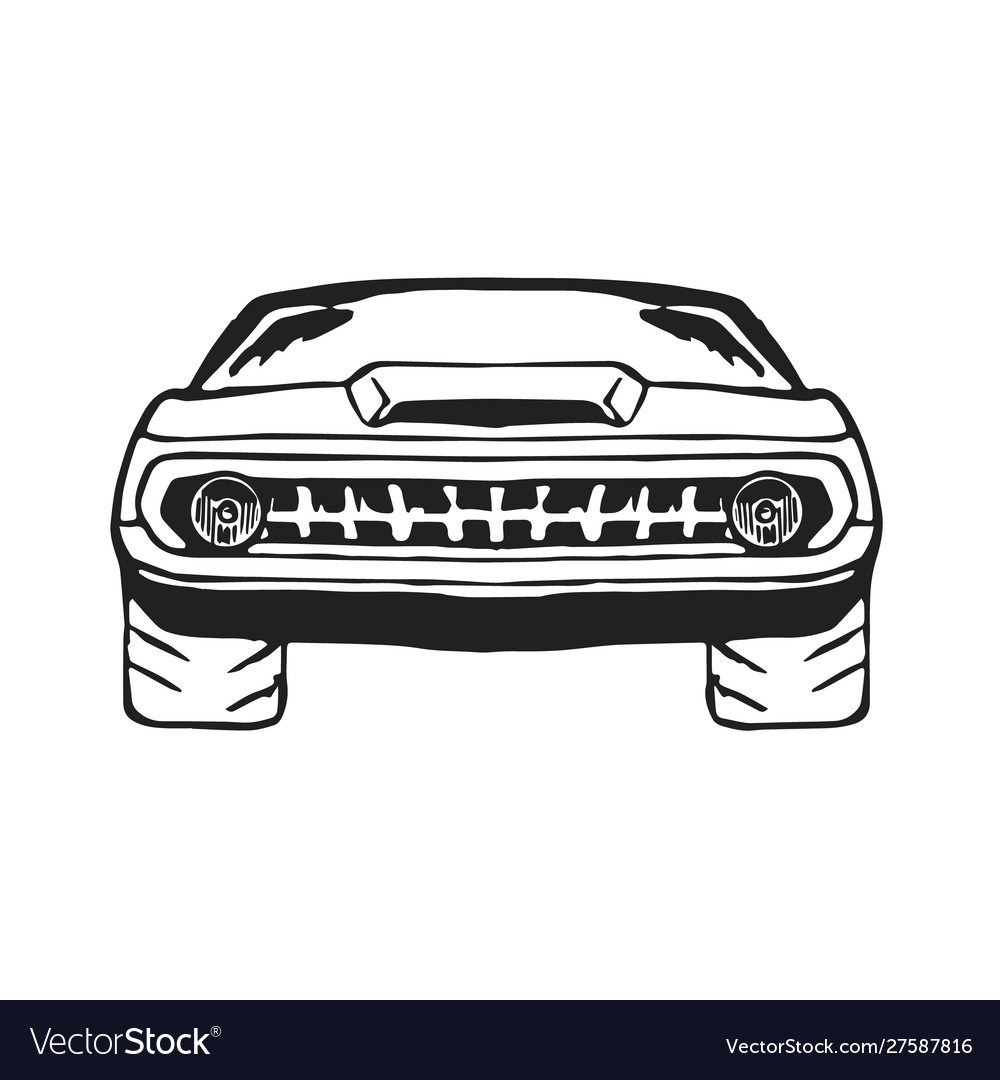 Muscle car hand drawn on white
