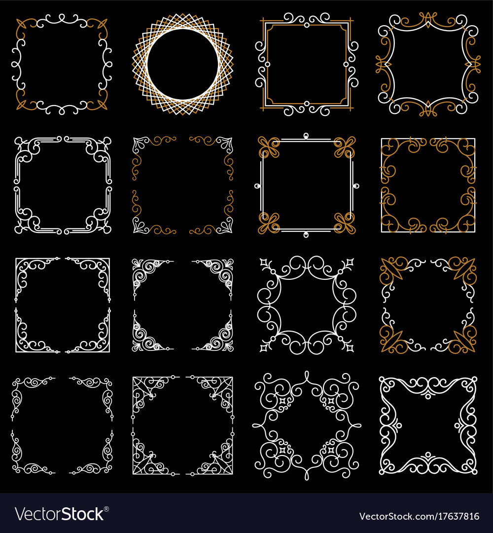 Set decorative vintage frames in mono line style vector