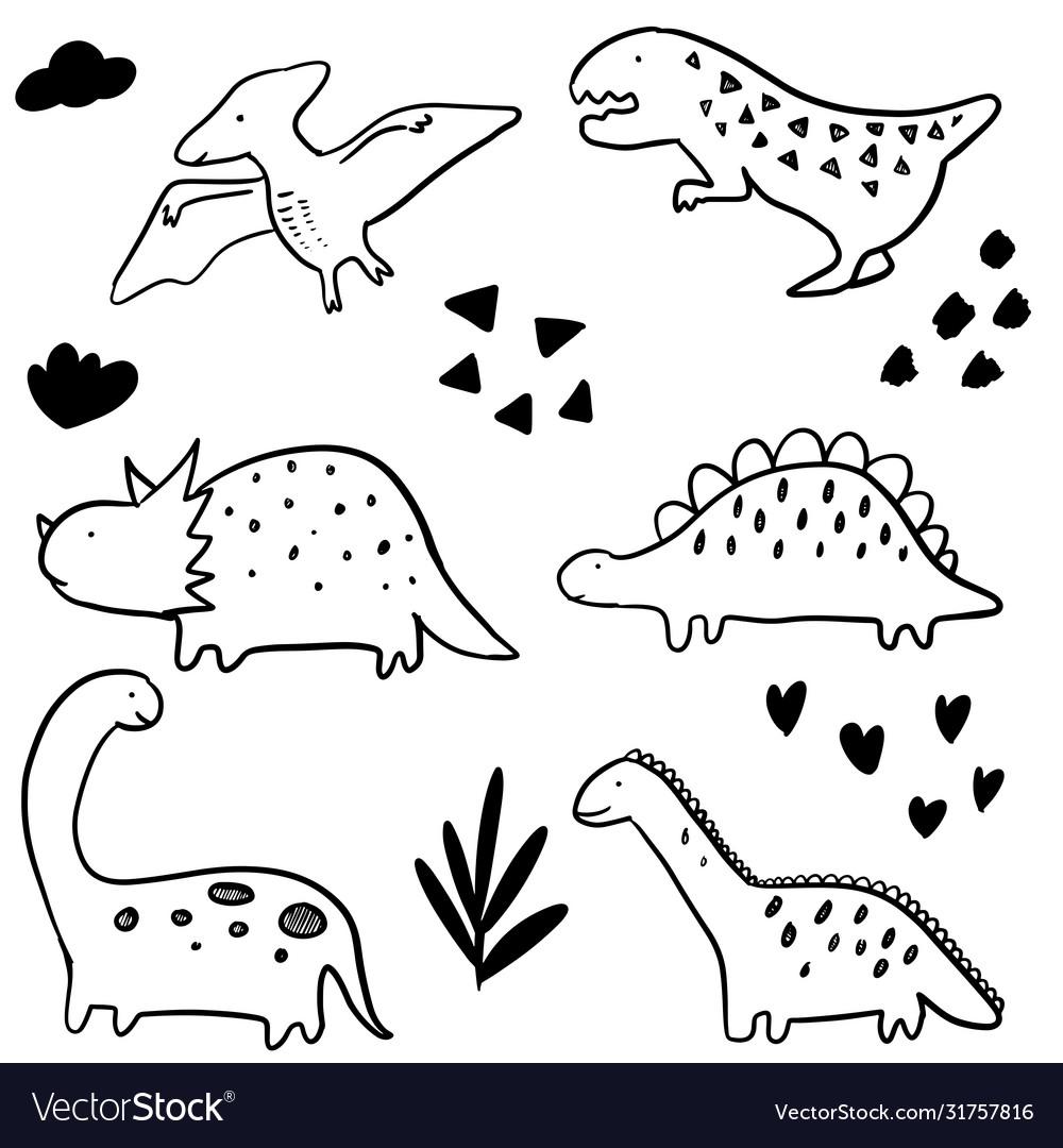 Set hand drawn doodle dinosaur
