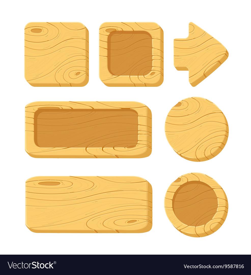 Set of cartoon wooden game assets