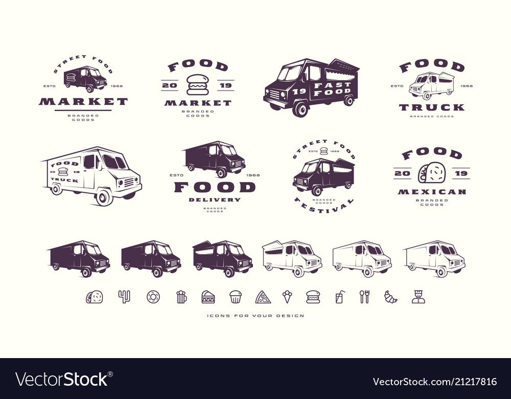 Set of emblems and logo for street food market