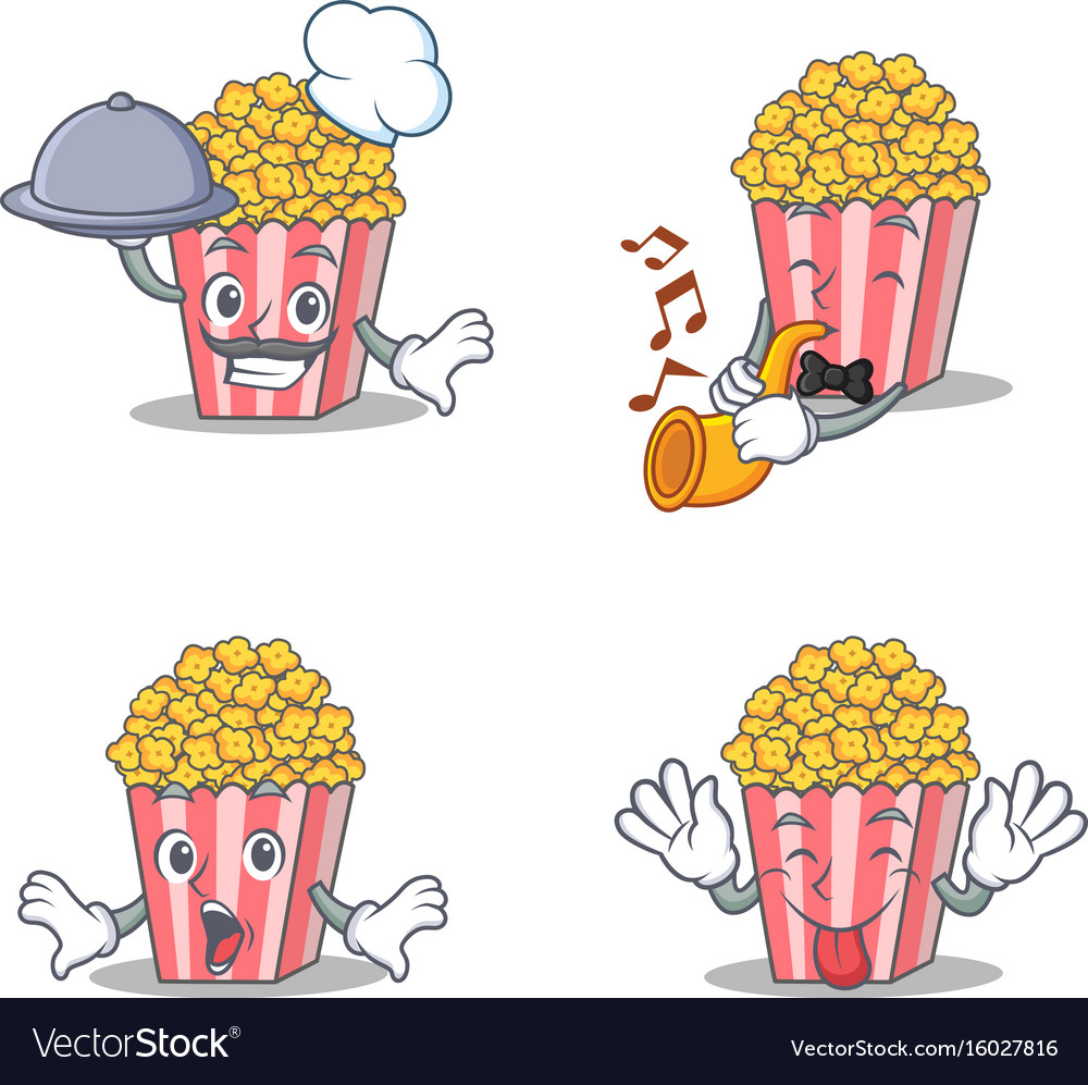 Set of popcorn character with chef trumpet