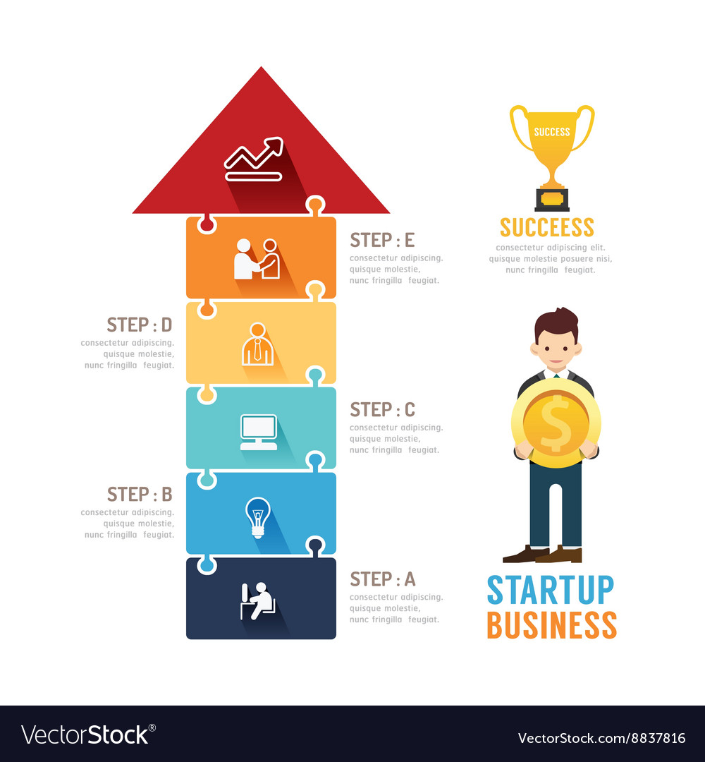 Startup Business design arrow jigzaw concept
