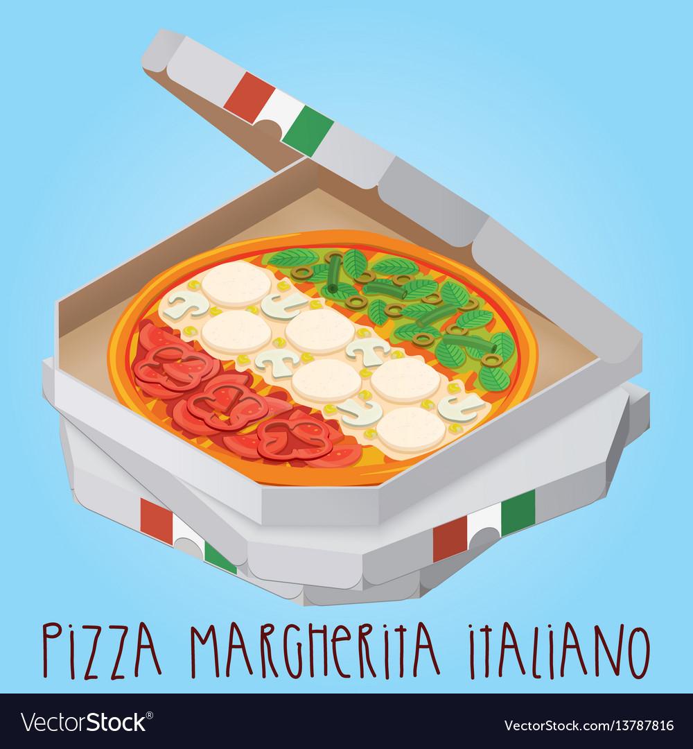 The real pizza margherita italiano italian pizza vector image