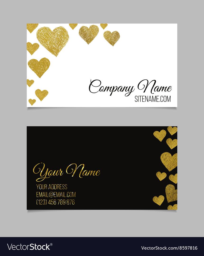 Visiting card with golden foil heart shape design