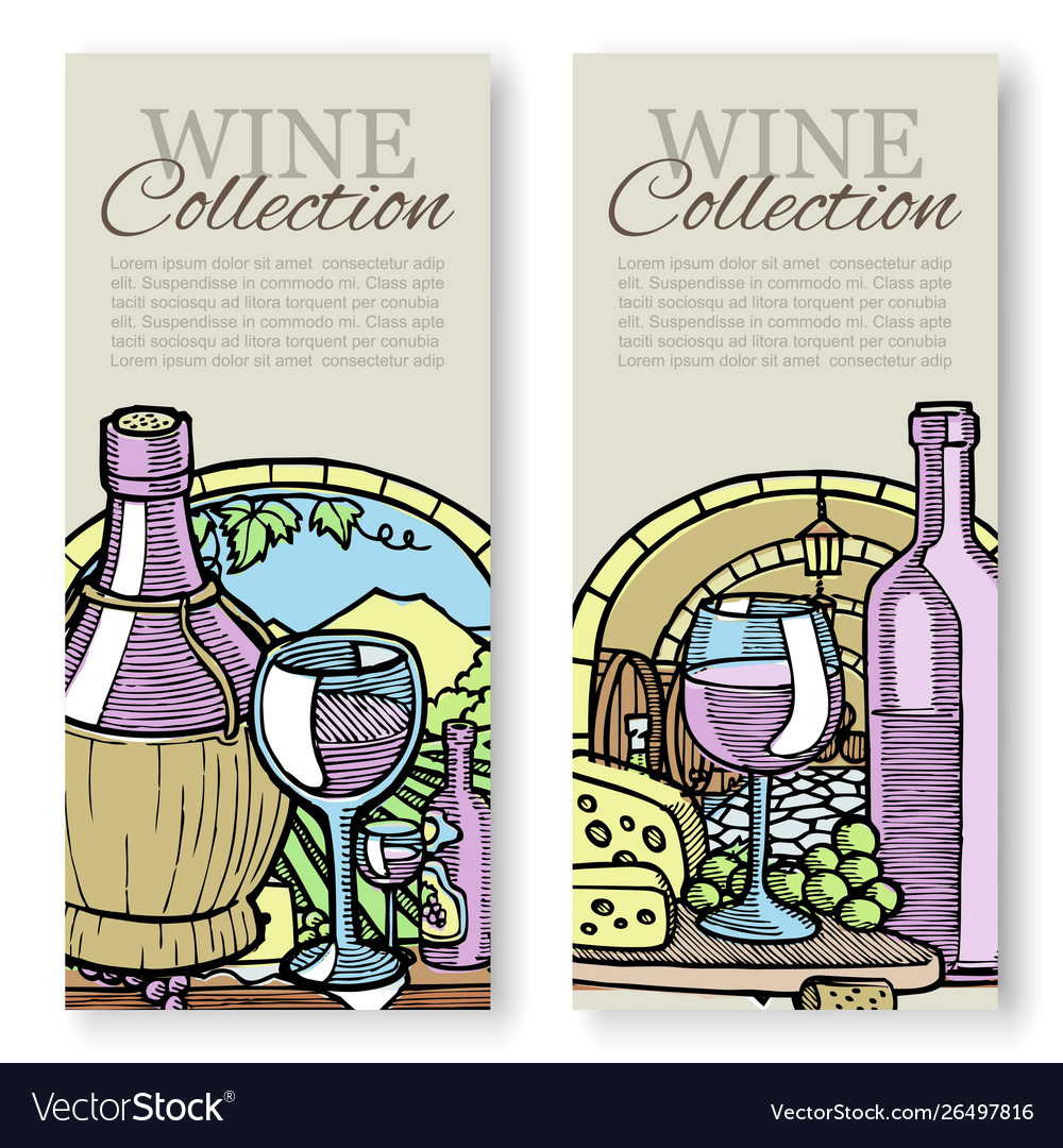 Winemaking and grapes vintage sketch set of