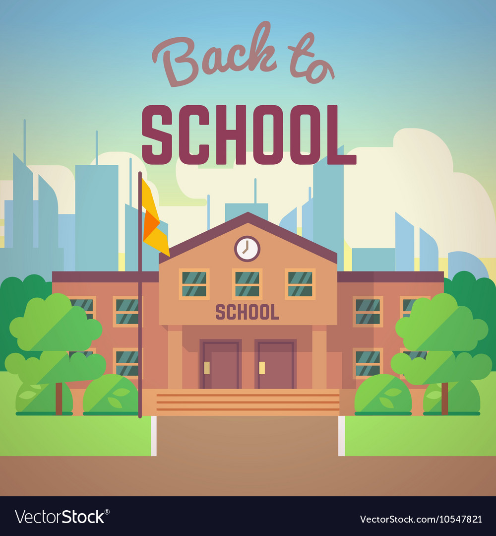 Back to school poster with schools building