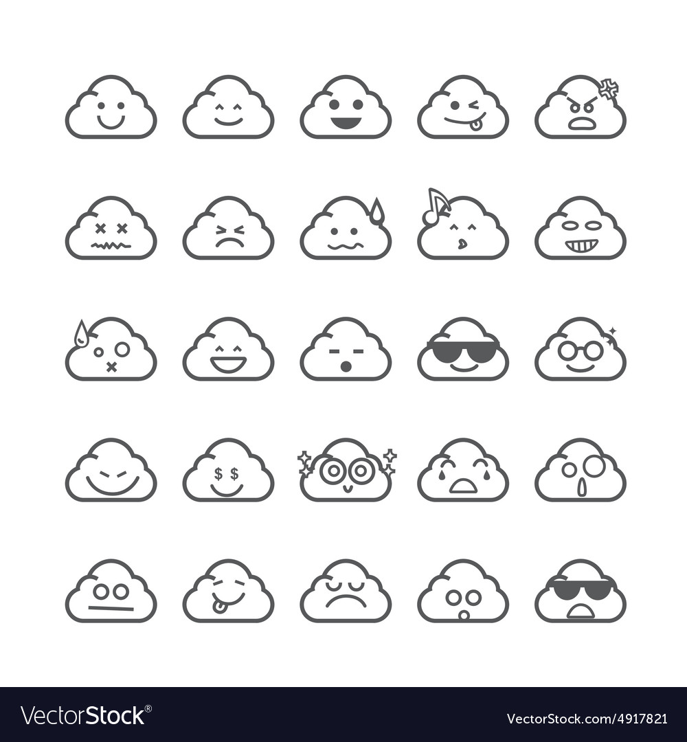Collection of difference emoticon icon of cloud
