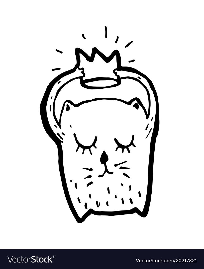 Cute Cat With Crown Cartoon Sketch Royalty Free Vector Image Doodle crown clipart set includes: vectorstock