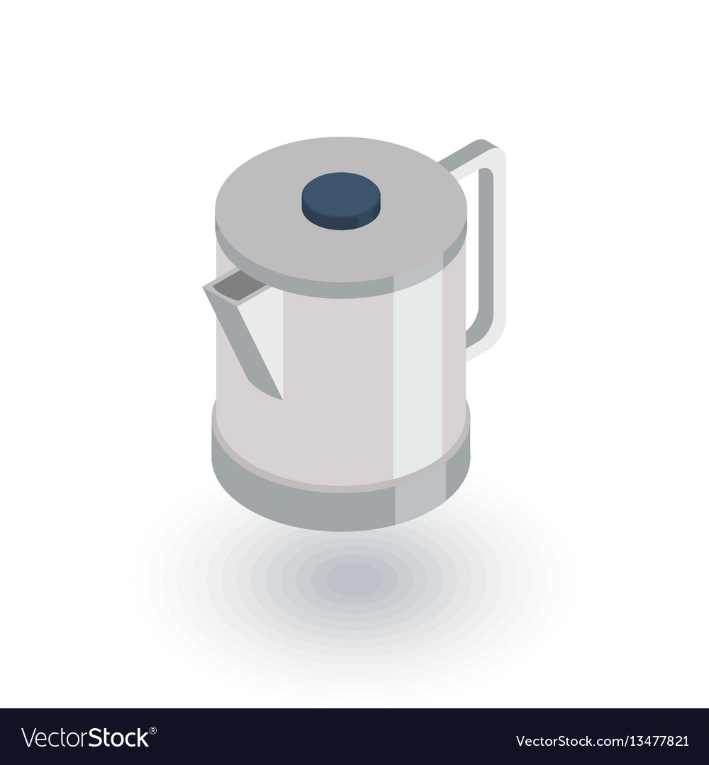 Electric kettle isometric flat icon 3d