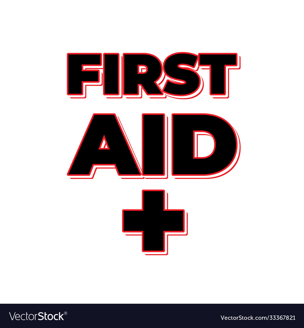 First aid lettering with sign isolated with white