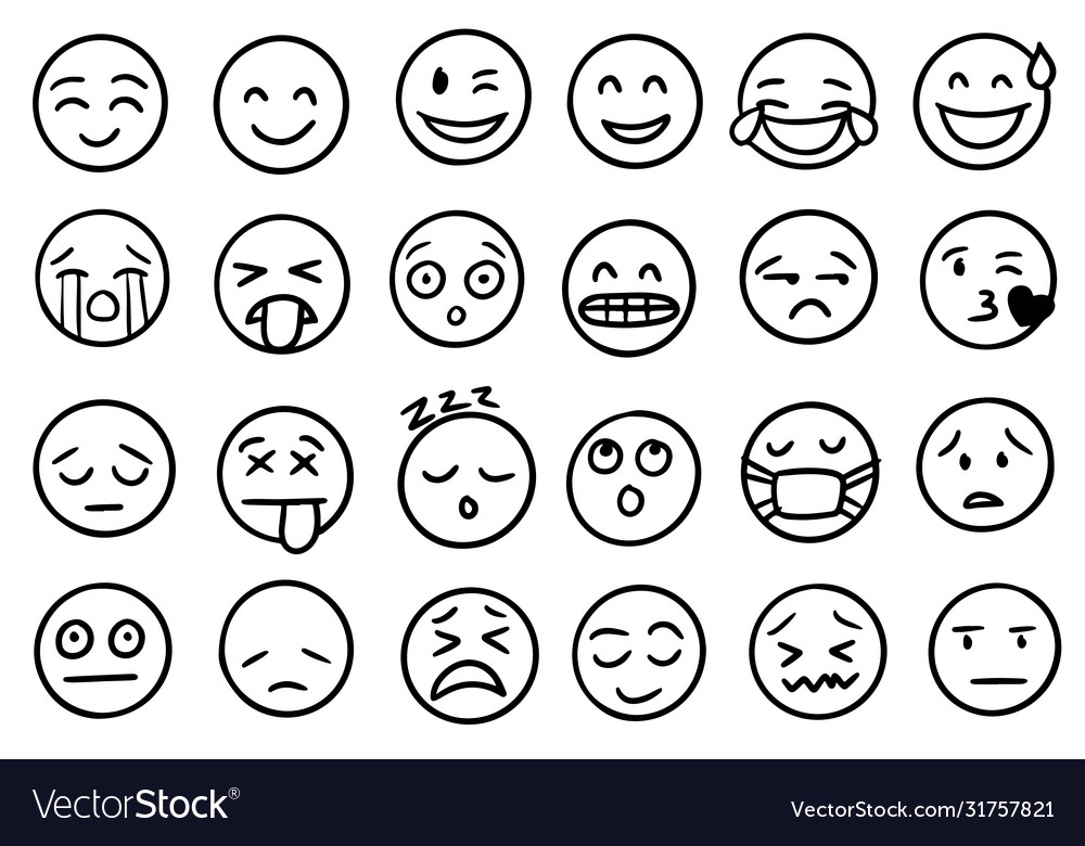 Hand drawn outline style emoji icons
