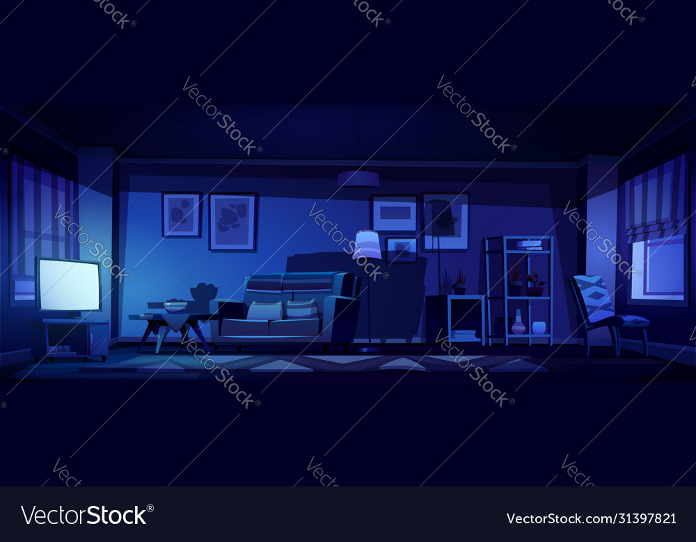 Interior Living Room With Tv At Night Royalty Free Vector