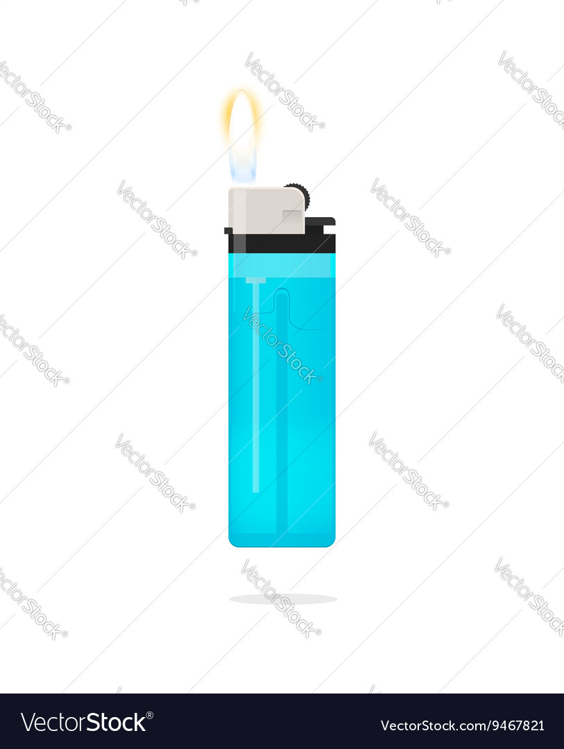 Lighter with flame icon isolated