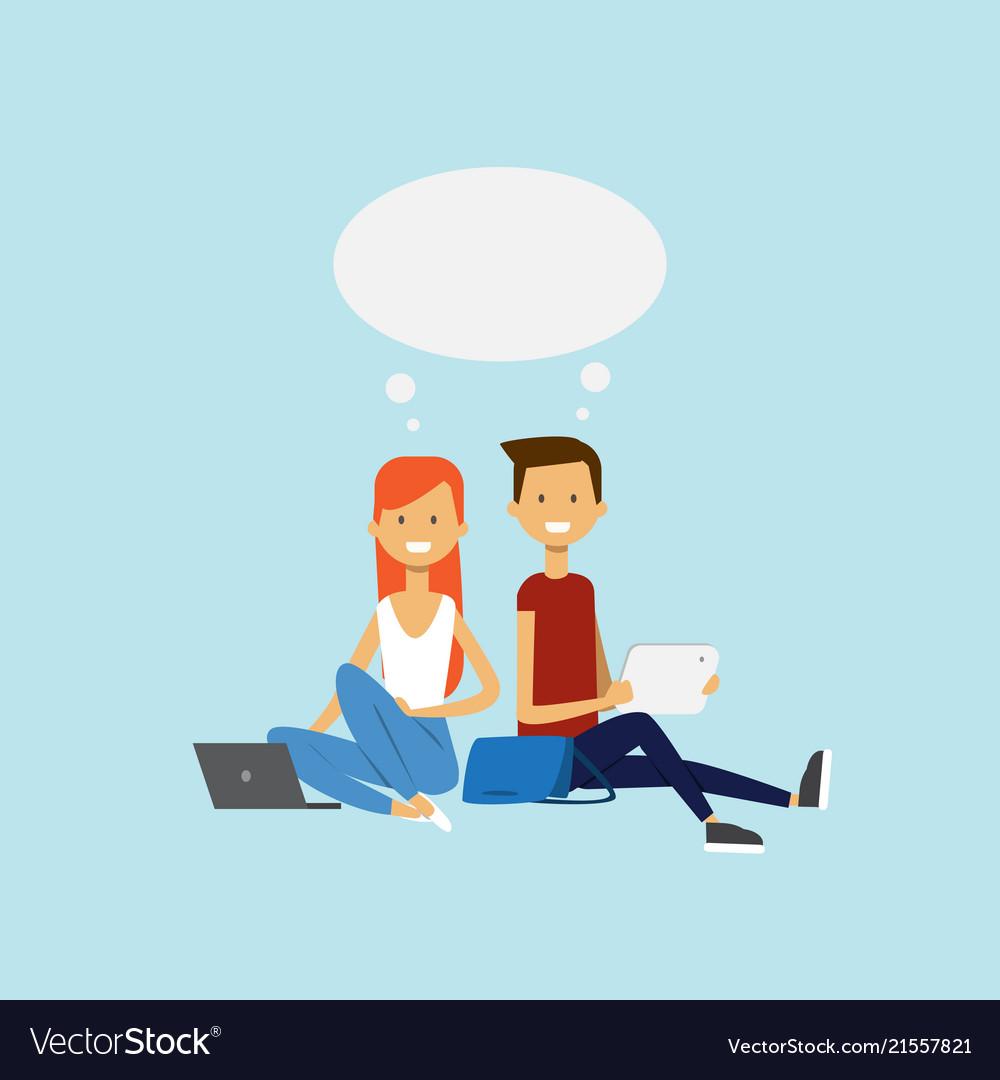 Man woman using laptop sitting couple chat bubble