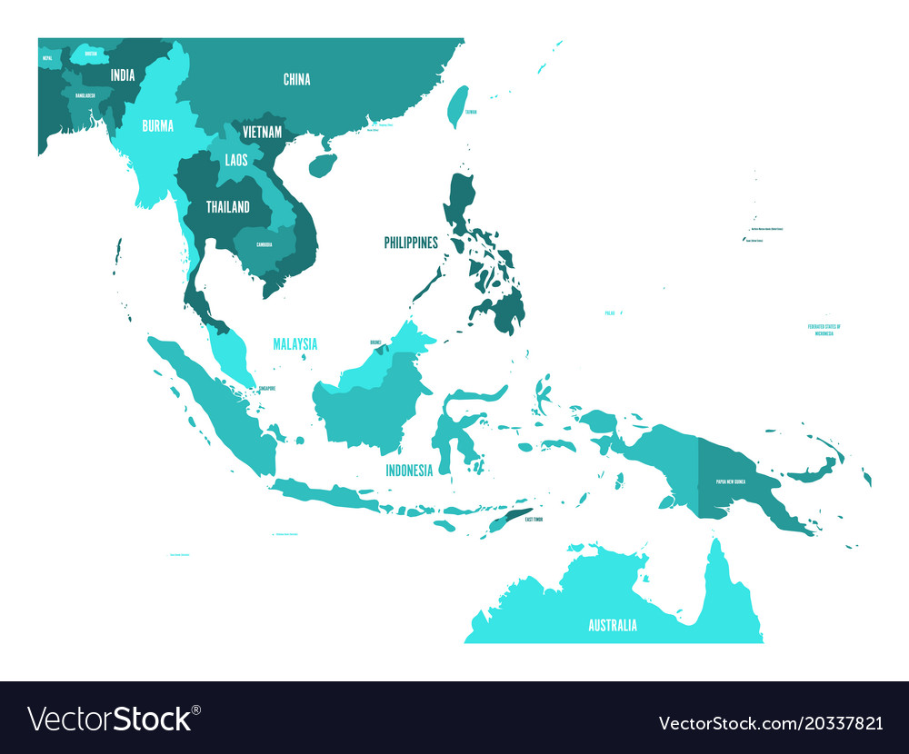 Map Of Southeast Asia Map In Shades Of Royalty Free Vector