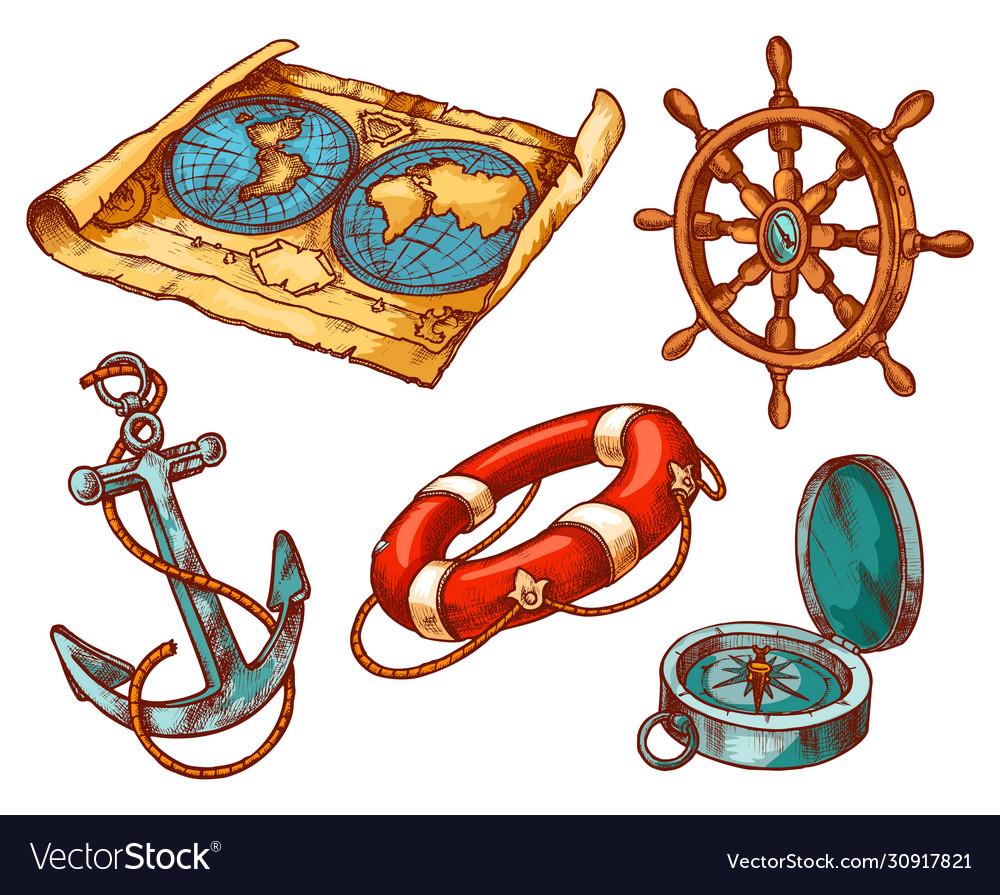 Marine anchor nautical sailing equipment sketch