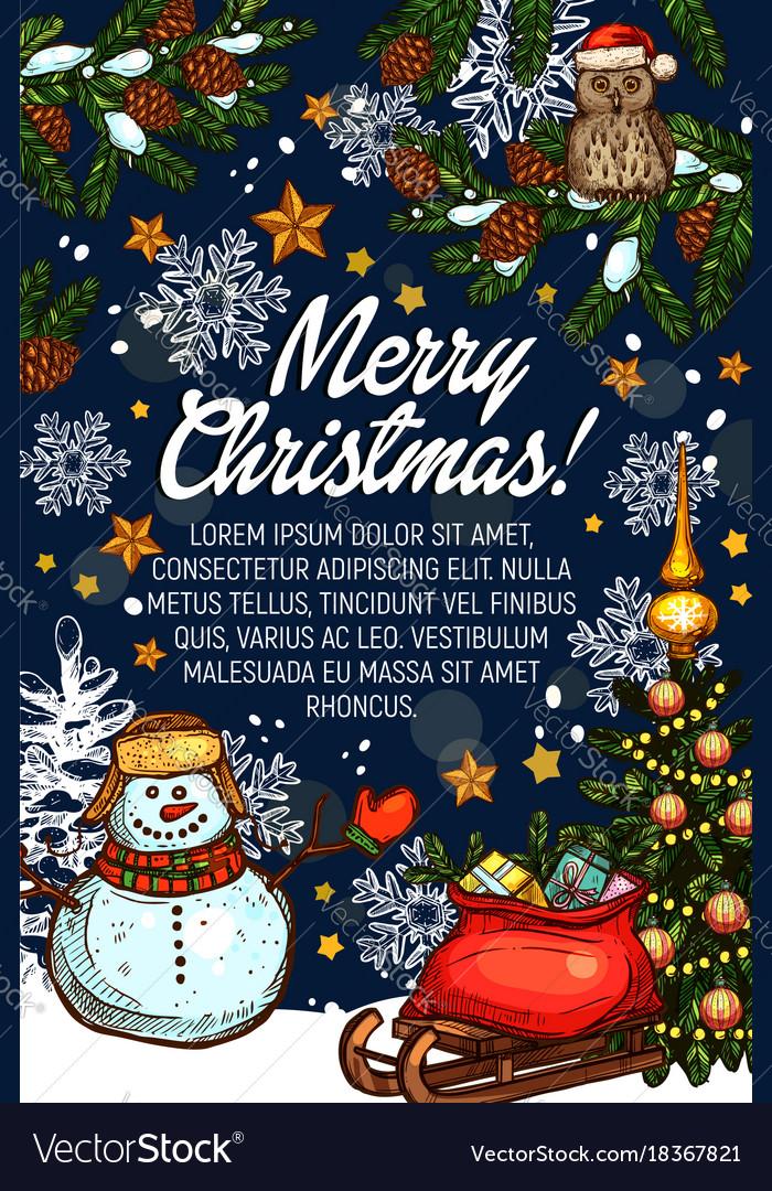 Merry christmas greeting card santa gifts