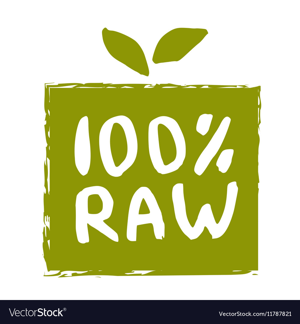Raw food hand drawn isolated label