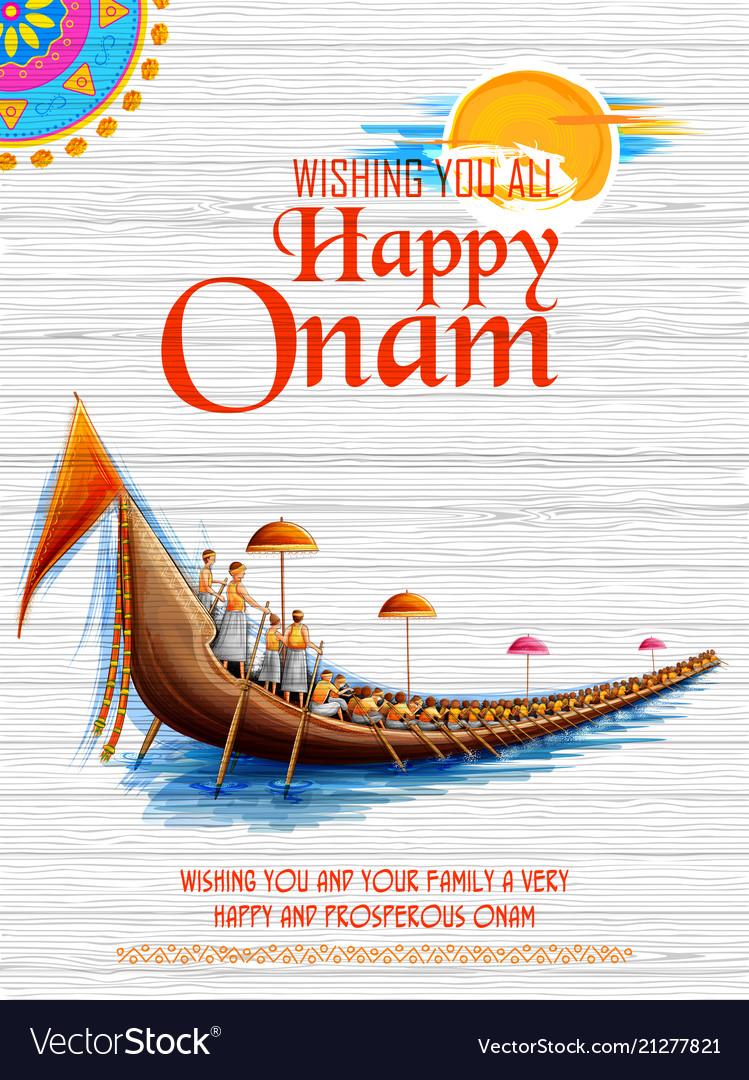 Snakeboat race in onam celebration background for