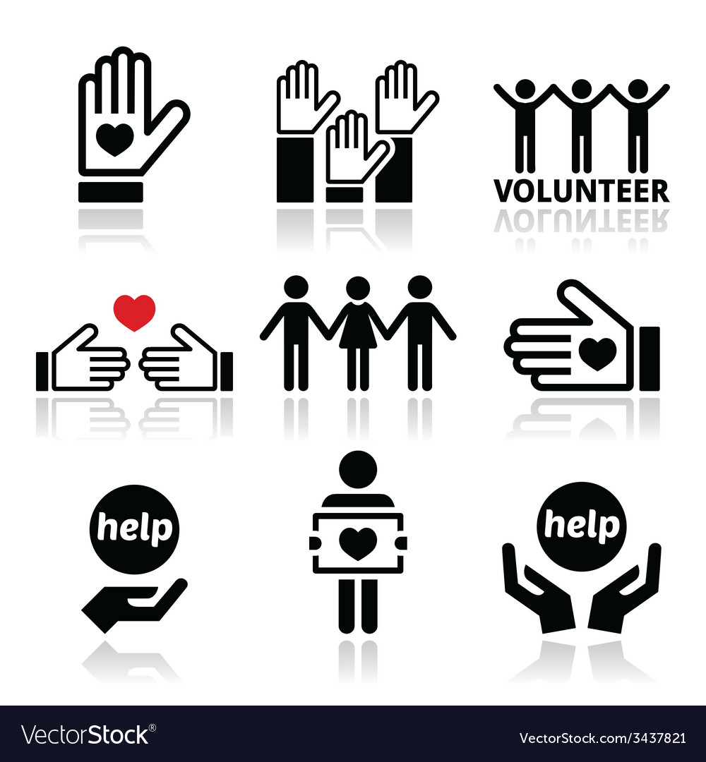 Volunteer people helping or giving concept icons vector image