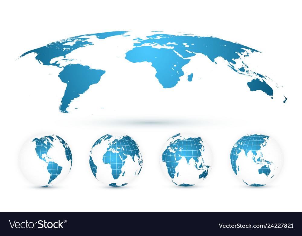 World map isolated on white background in bright