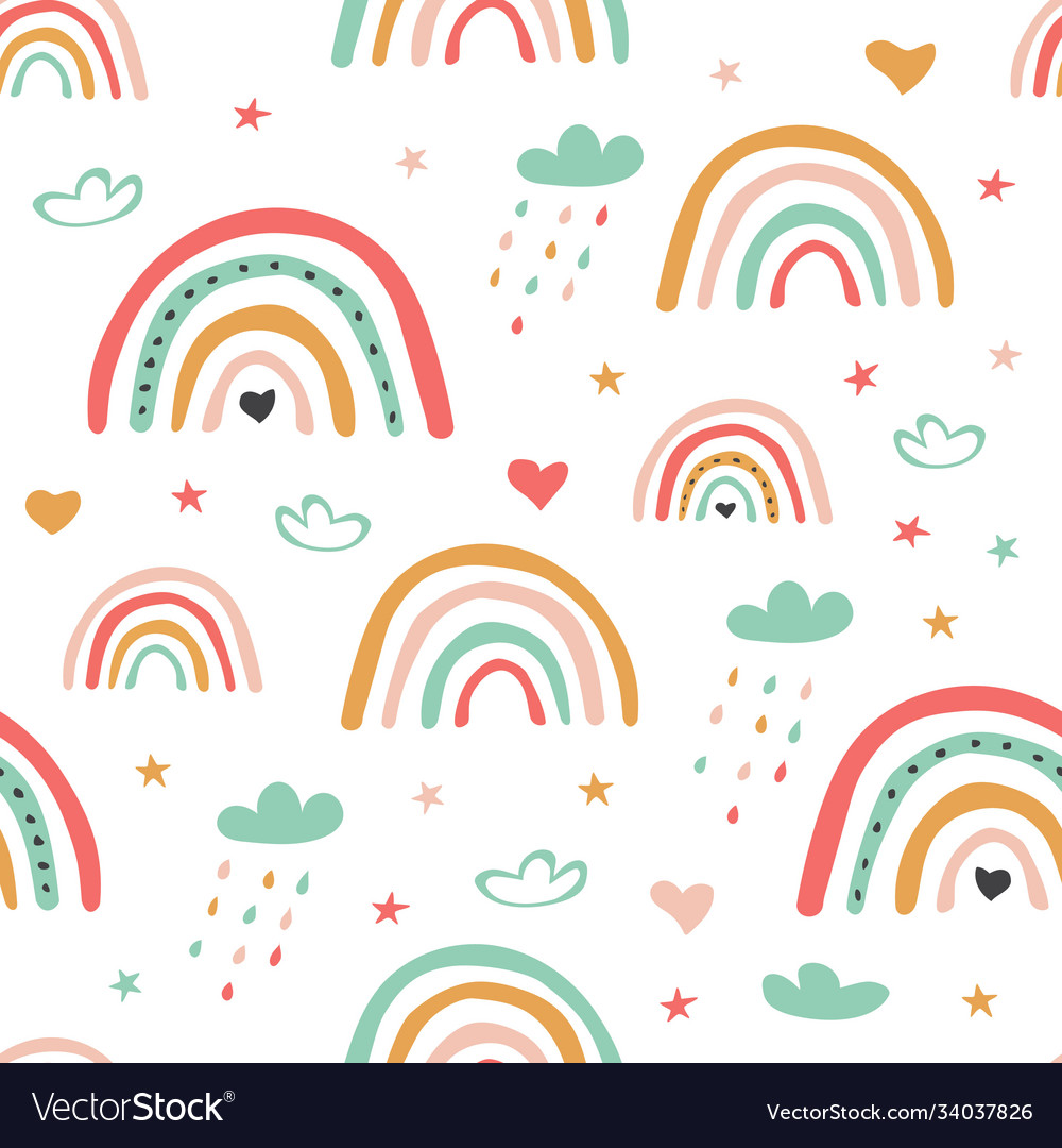 Childish scandinavian seamless pattern with cute vector