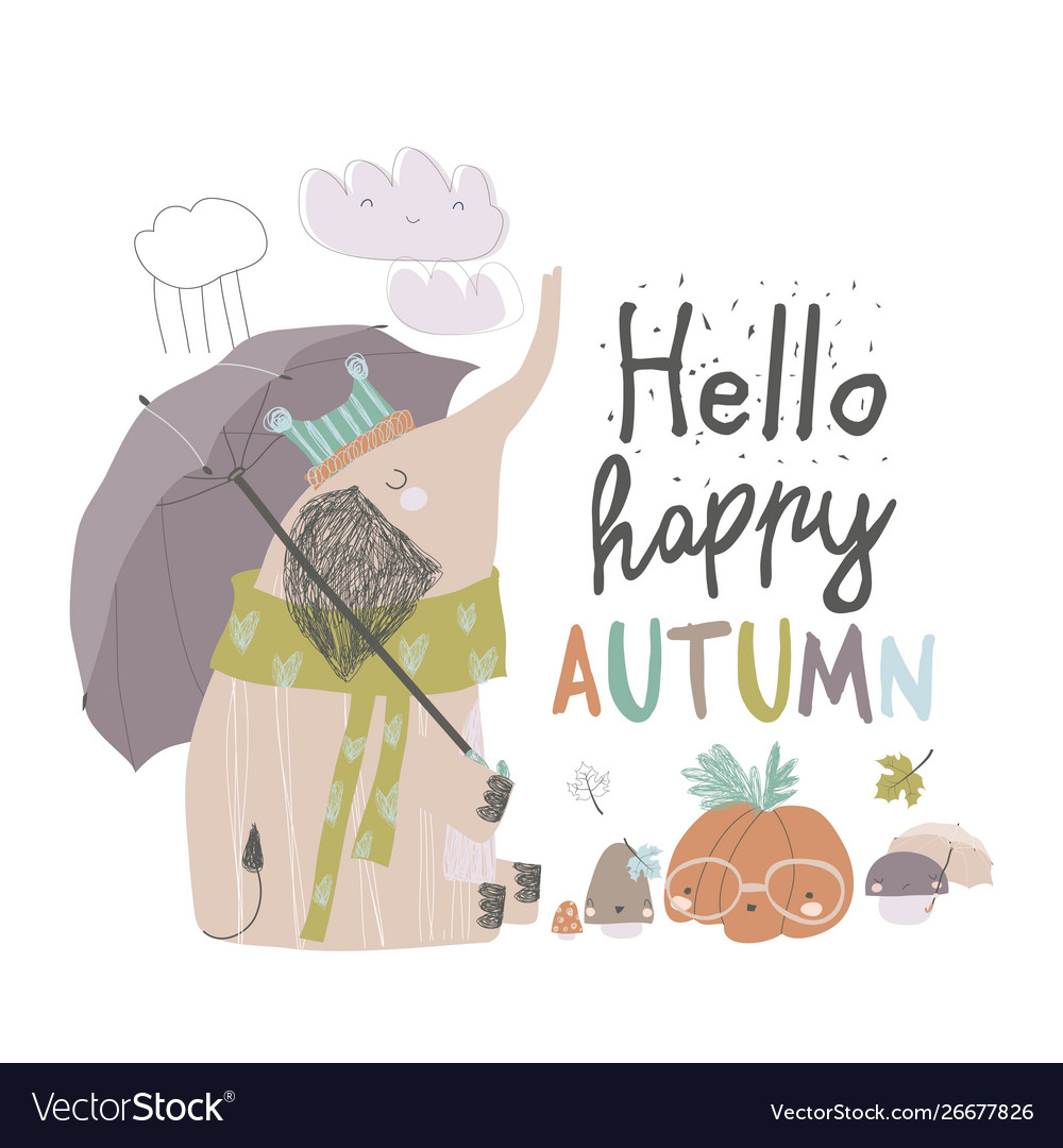 Cute elephant under umbrella autumn time rainy