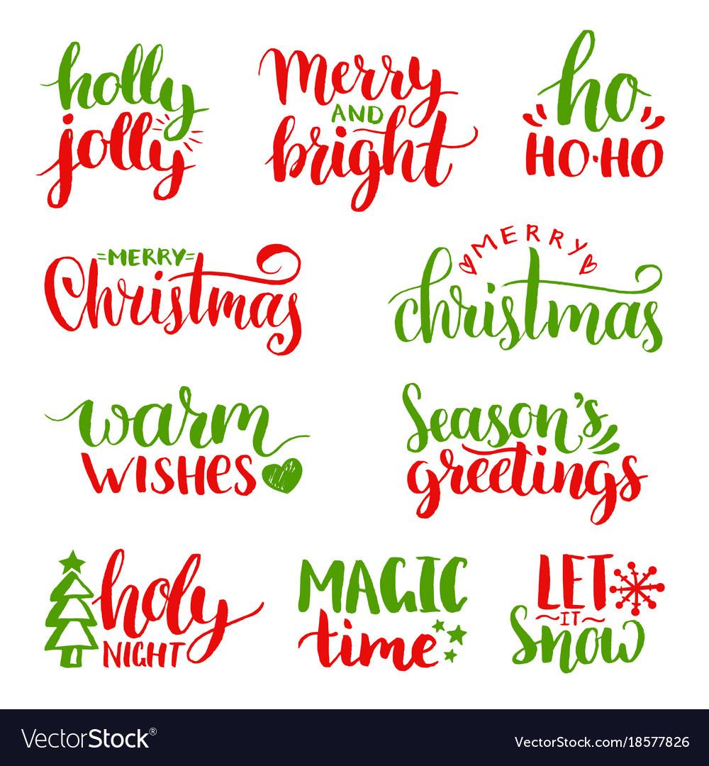 Handwritten christmas and new year vector image