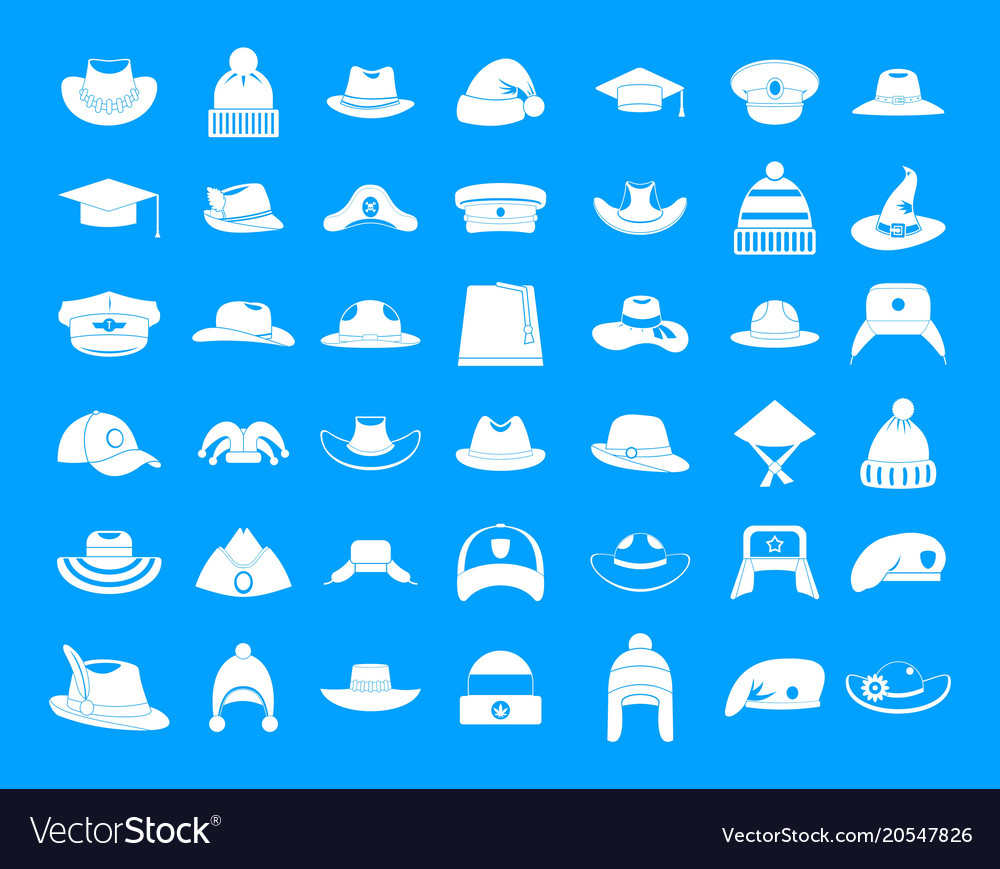 Hat icon blue set vector image