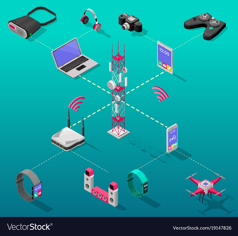 Isometric internet technology concept