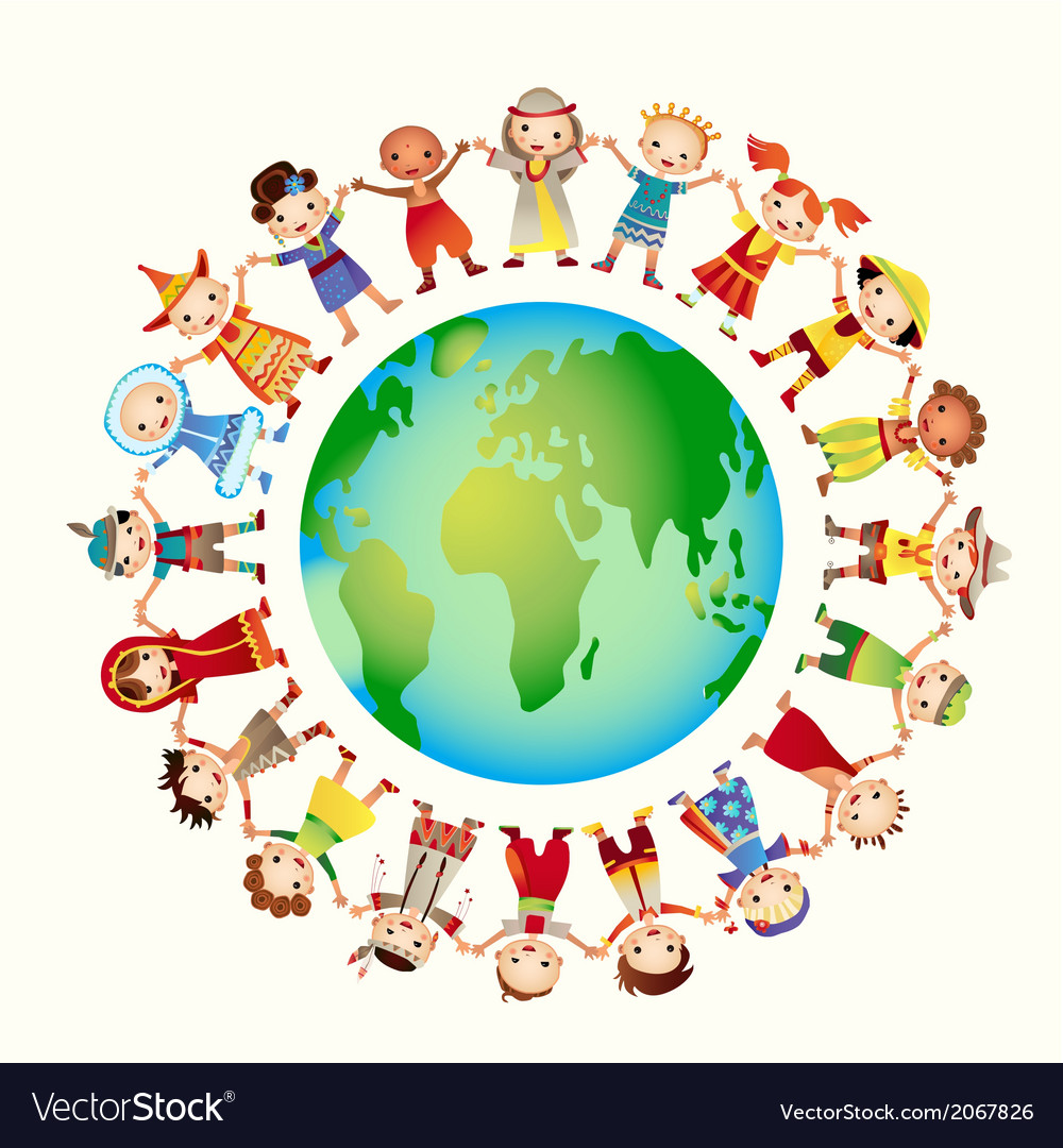 Multicultural: Multicultural Children On Planet Earth Royalty Free Vector