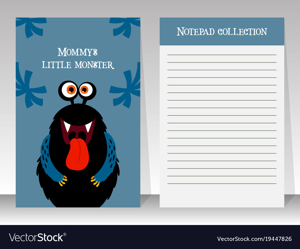 Notebook template with black funny monster
