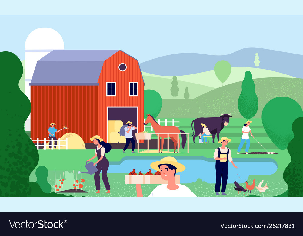 Cartoon farm with farmers agricultural workers