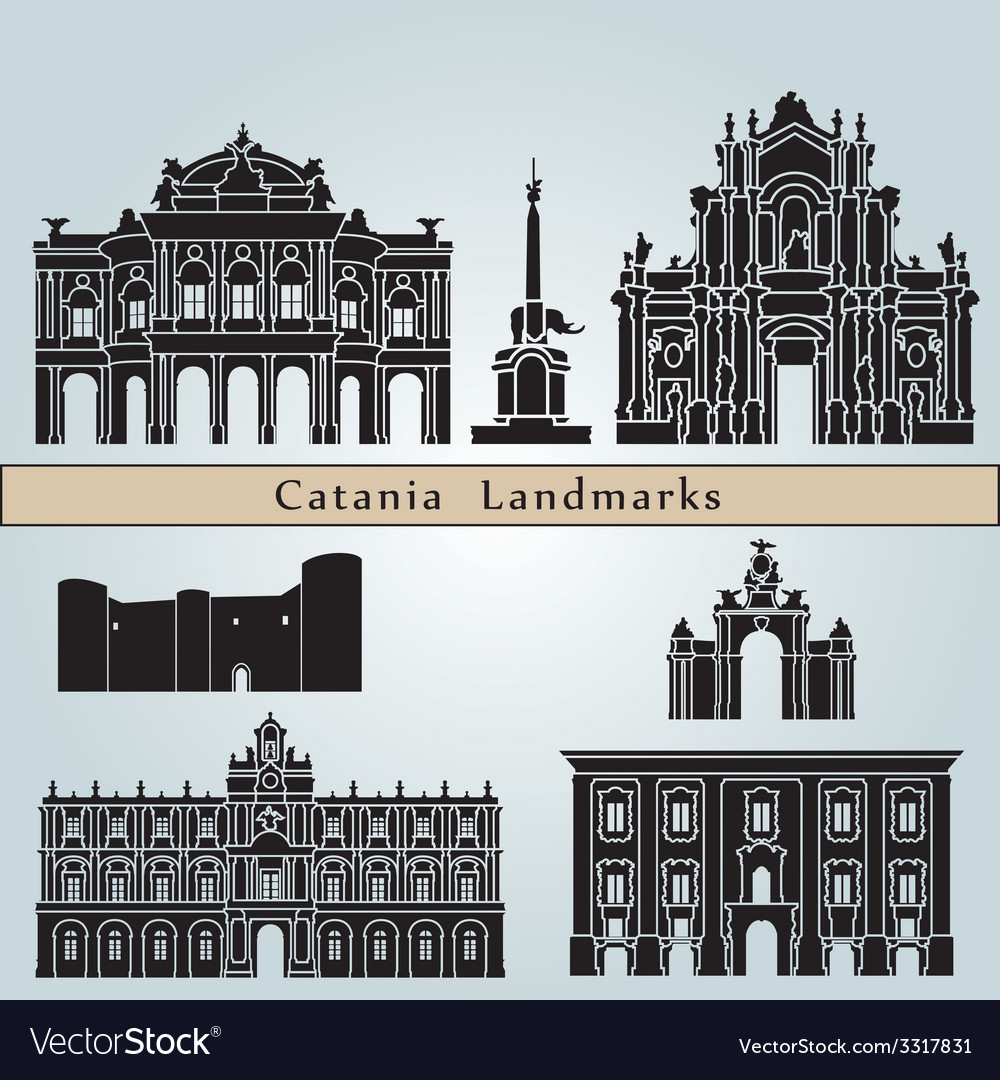 Catania landmarks and monuments vector
