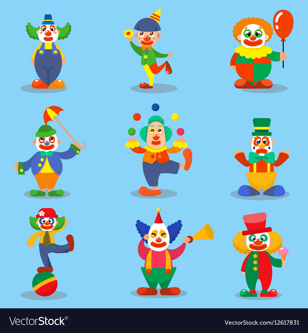 Clown cute characters cartoon