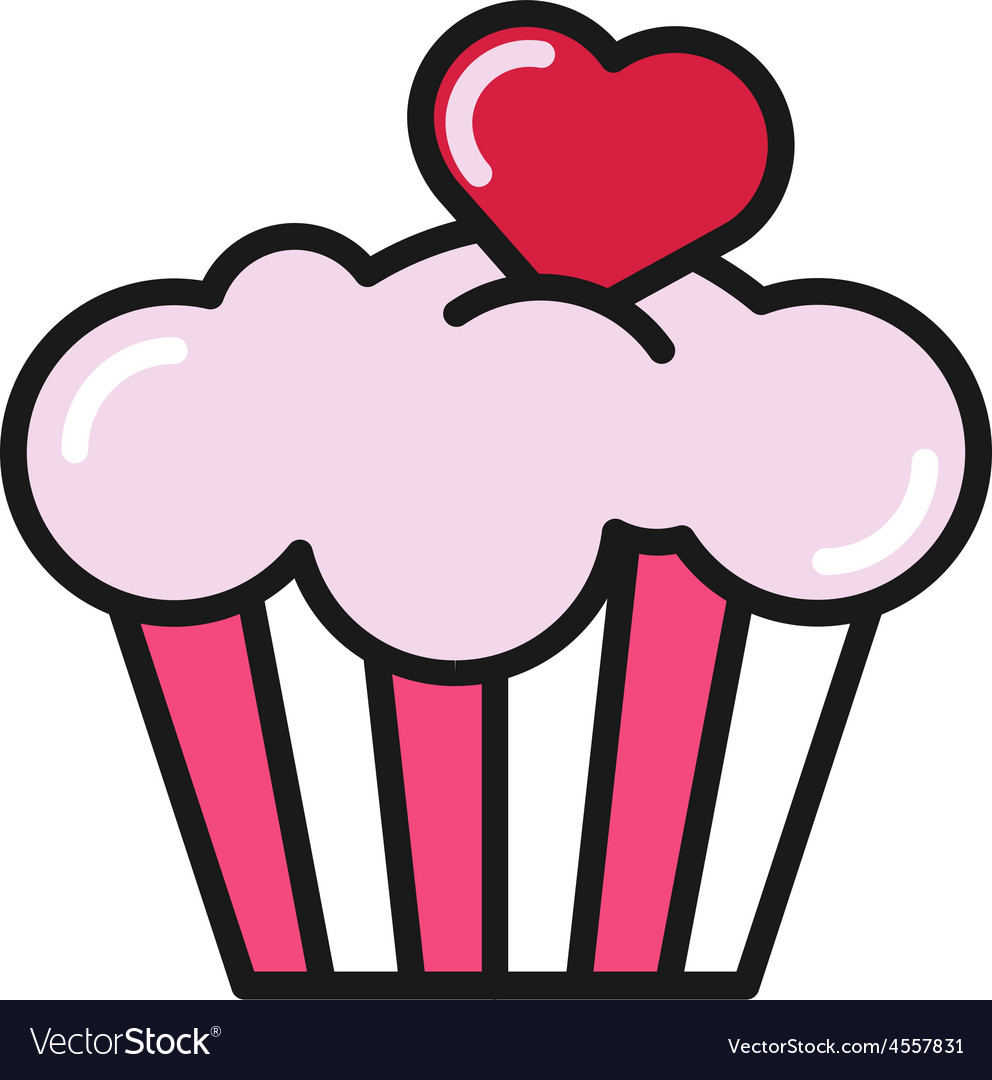 Cupcake with heart flat style