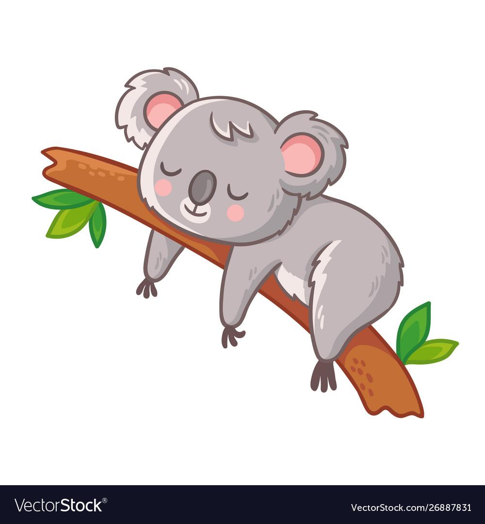 Cute koala is sleeping on a tree