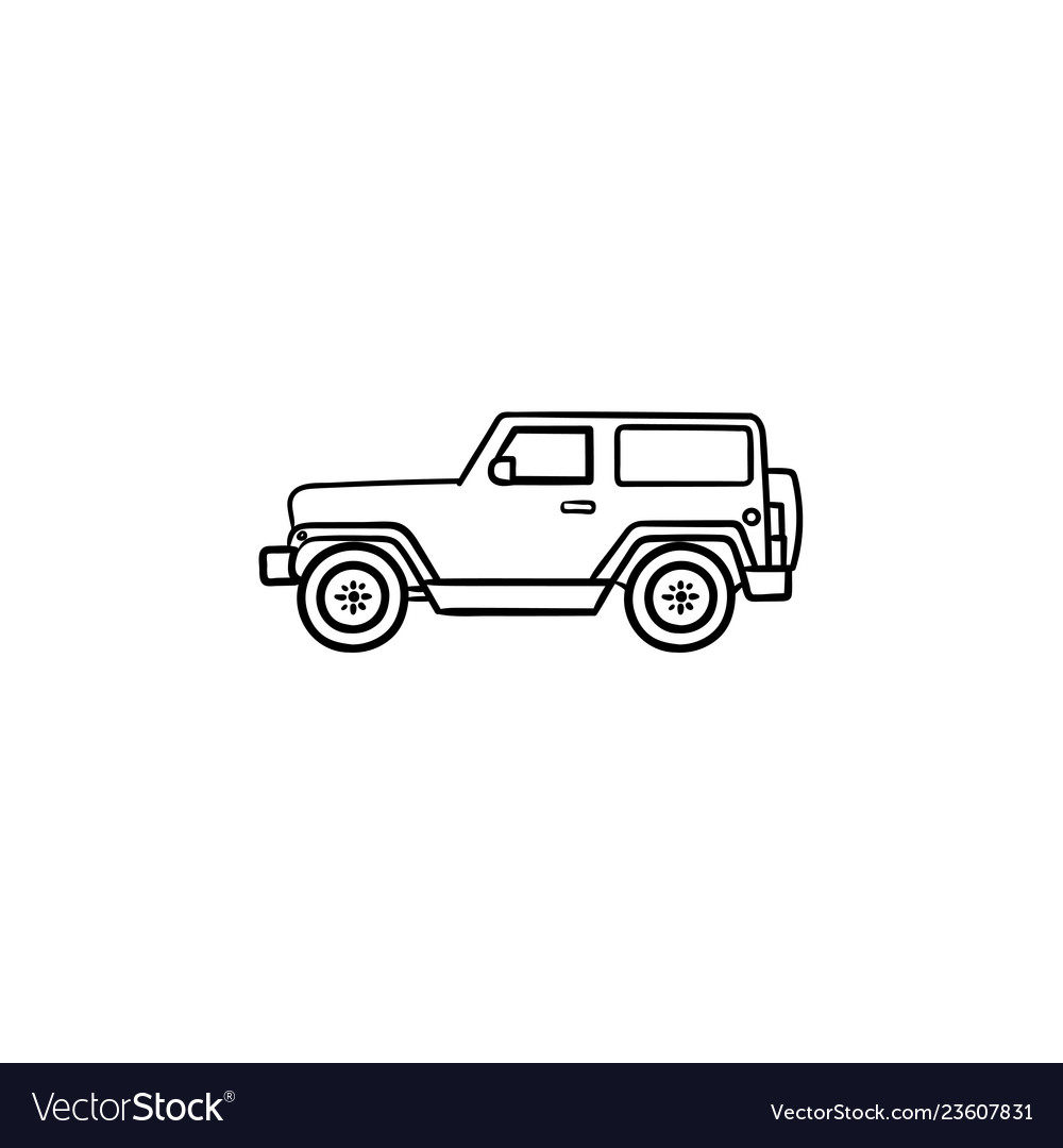 Jeep hand drawn outline doodle icon