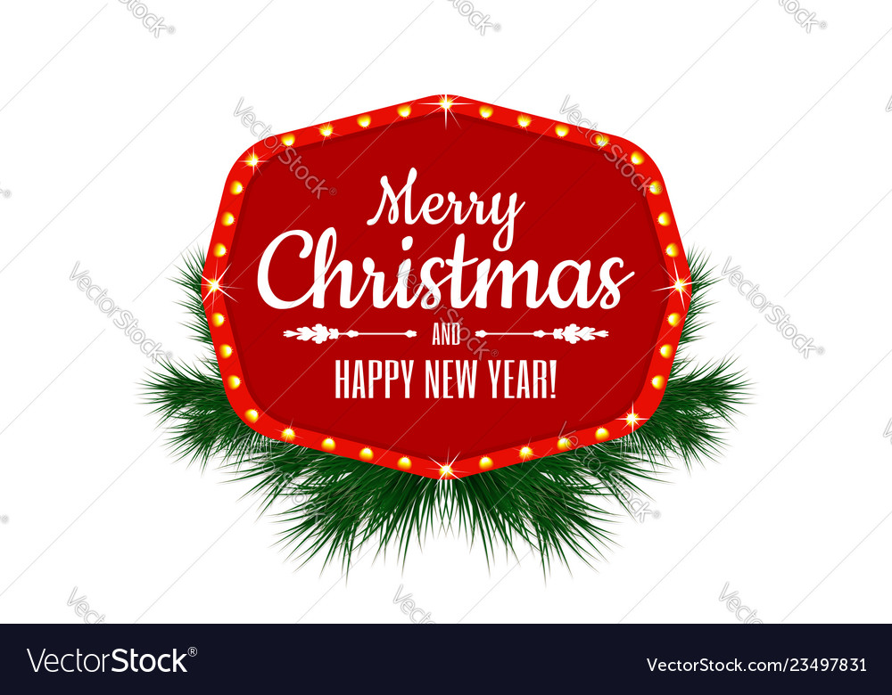 Merry christmas and happy new year vintage sign