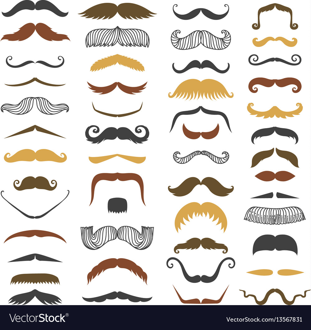Mustache and beard mens silhouette isolated vector image