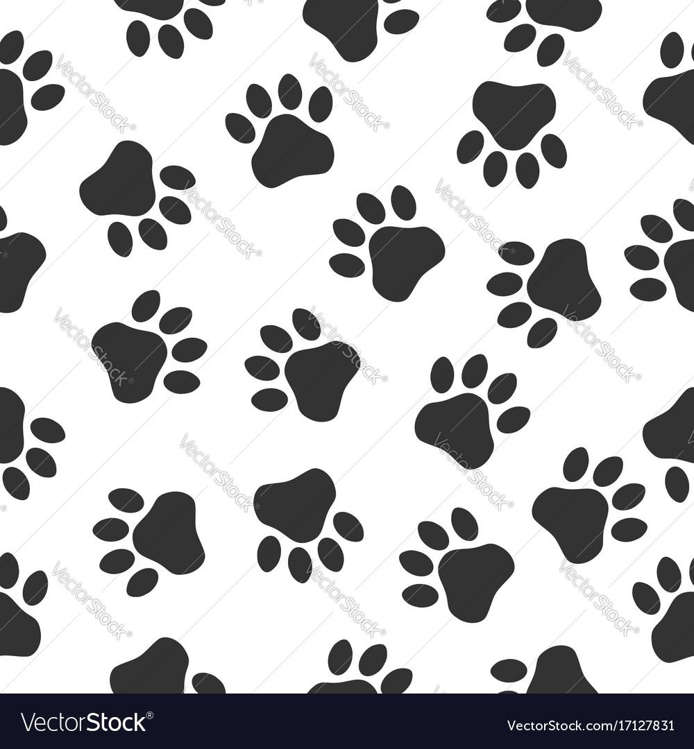Paws print seamless pattern simple monochrome
