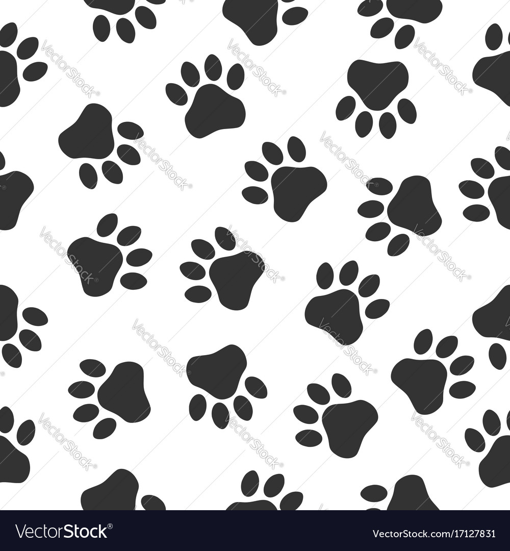 Paws print seampless pattern simple monochrome