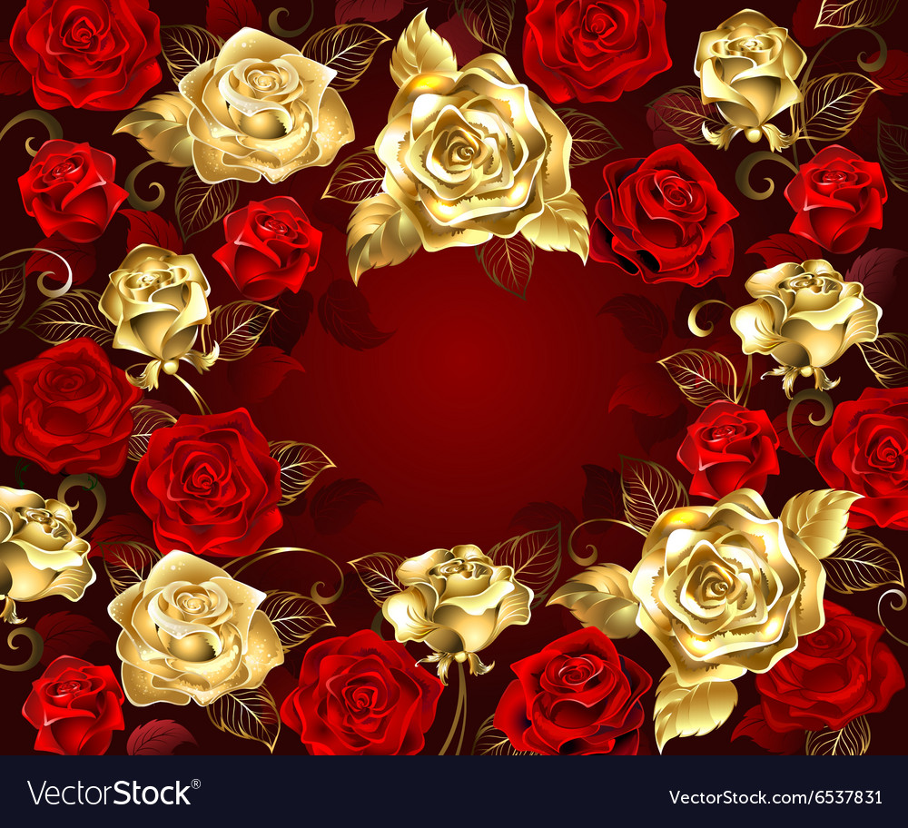 Red and Gold Roses vector image