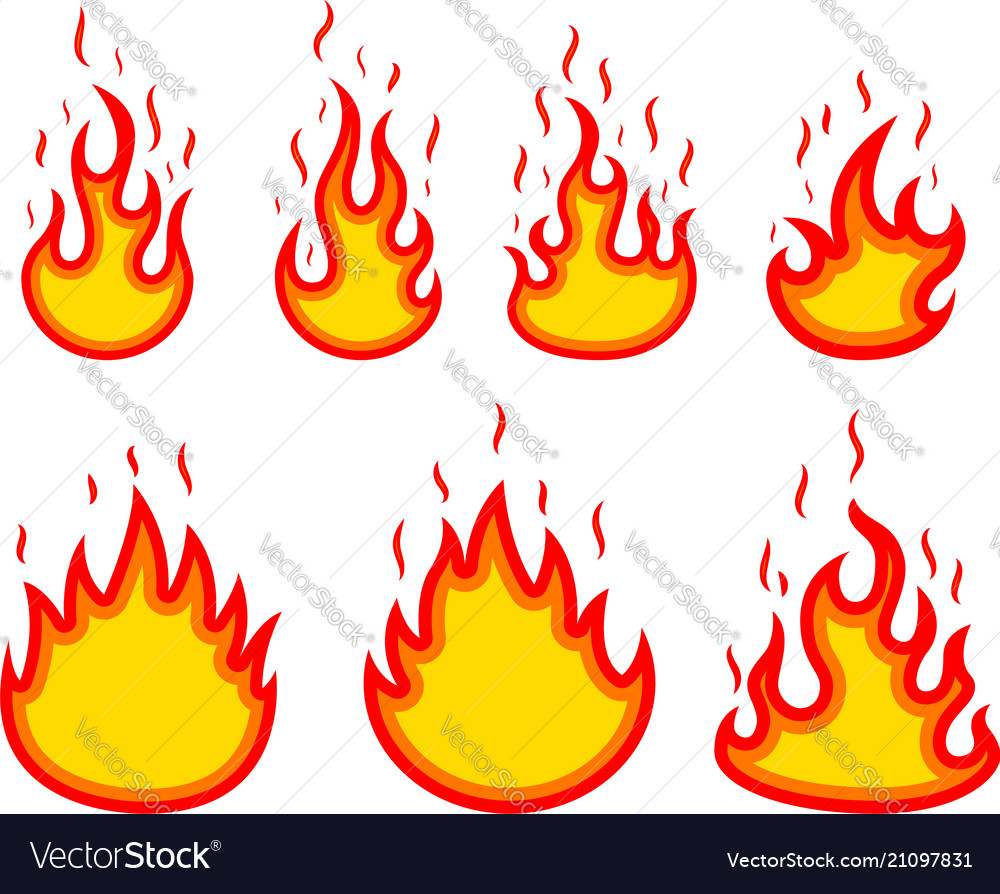 Set of fire on white background design elements