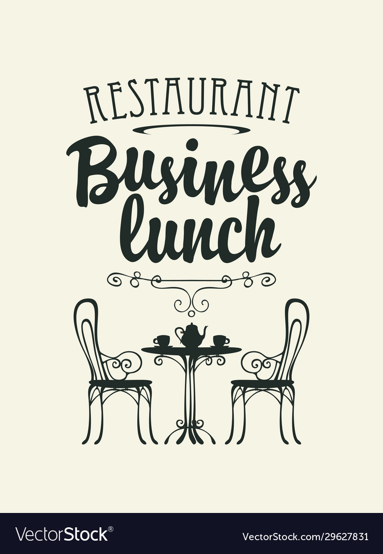 Template business lunch menu with a table for two