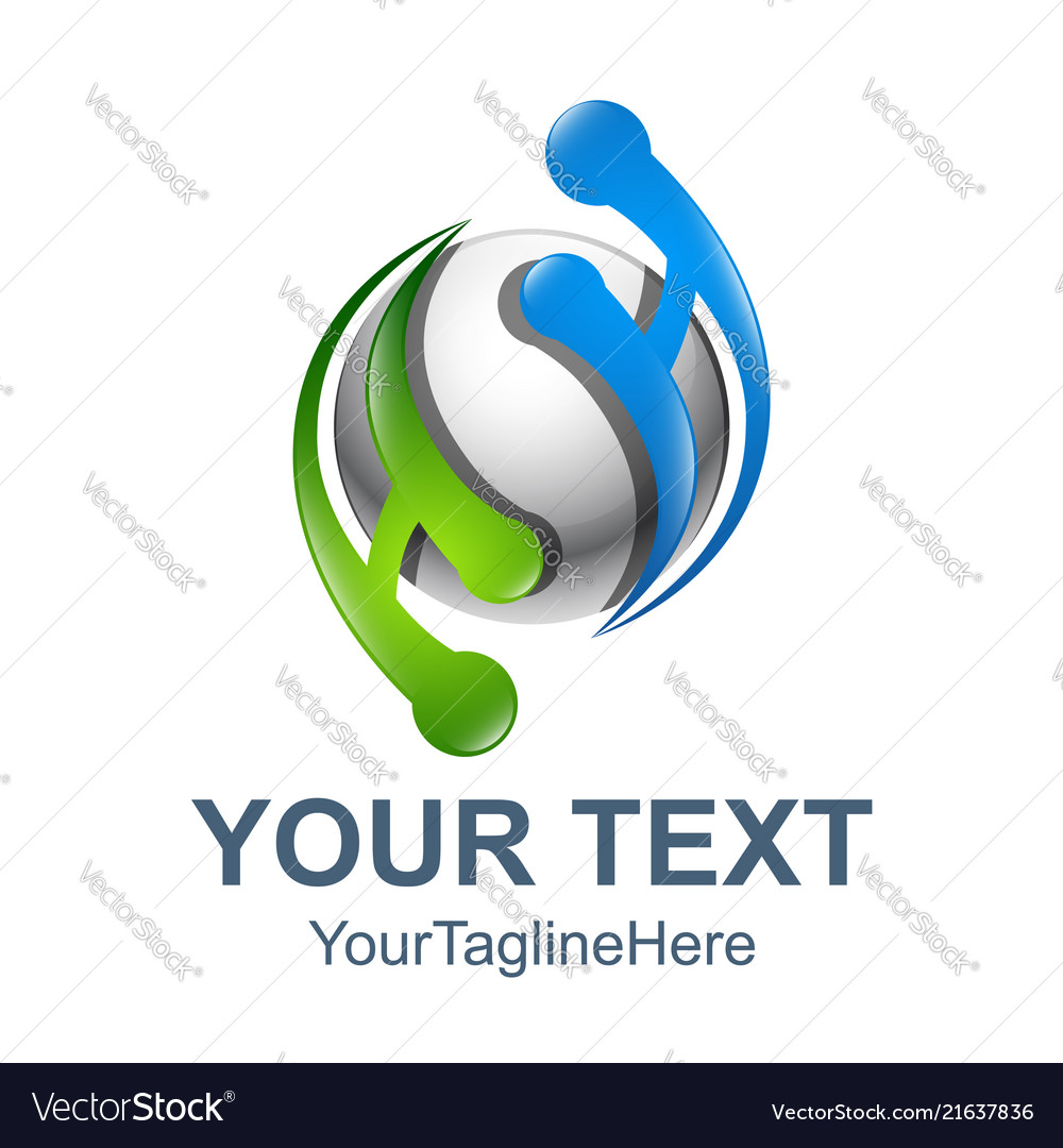 3d circle abstract ah letter technology logo